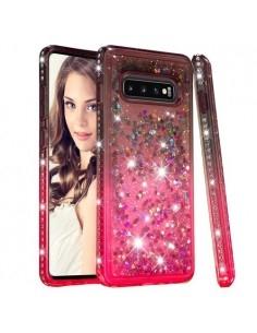 Rugalmas szuper mozgó csillámos tok Samsung Galaxy S10 Plus készülékhez - BARNA/PIROS