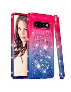 Rugalmas szuper mozgó csillámos tok Samsung Galaxy S10 készülékhez - PIROS/KÉK