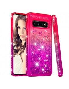 Rugalmas szuper mozgó csillámos tok Samsung Galaxy S10 készülékhez - PIROS/LILA