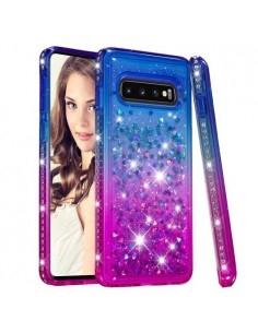 Rugalmas szuper mozgó csillámos tok Samsung Galaxy S10 készülékhez - KÉK/LILA