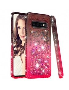 Rugalmas szuper mozgó csillámos tok Samsung Galaxy S10 készülékhez - BARNA/PIROS