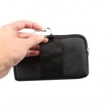 Övre fűzhető 2 rekeszes cipzáras fekvő telefontok övtáska - FEKETE