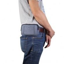 Övre fűzhető 2 rekeszes cipzáras fekvő telefontok övtáska karabinerrel - KÉK