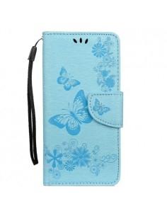 Dombornyomott pillangós notesztok Samsung Galaxy A50 telefonhoz - KÉK