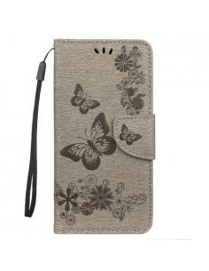 Dombornyomott pillangós notesztok Samsung Galaxy A50 telefonhoz - EZÜST