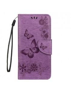 Dombornyomott pillangós notesztok Samsung Galaxy A50 telefonhoz - LILA