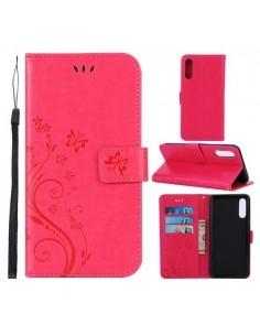 Dombornyomott lepkés virágos notesztok Samsung Galaxy A50 telefonhoz - PINK