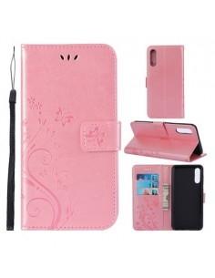 Dombornyomott lepkés virágos notesztok Samsung Galaxy A50 telefonhoz - RÓZSAARANY