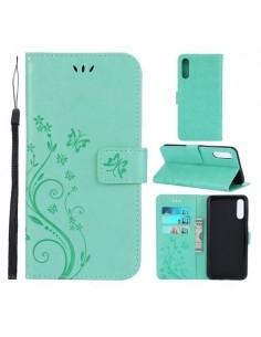 Dombornyomott lepkés virágos notesztok Samsung Galaxy A50 telefonhoz - ZÖLD