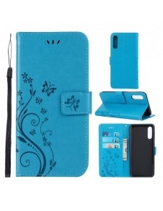 Dombornyomott lepkés virágos notesztok Samsung Galaxy A50 telefonhoz - KÉK