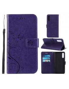 Dombornyomott lepkés virágos notesztok Samsung Galaxy A50 telefonhoz - SÖTÉTLILA