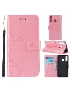 Dombornyomott lepkés virágos notesztok Huawei P30 Lite telefonhoz - RÓZSAARANY