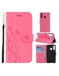 Dombornyomott lepkés virágos notesztok Huawei P30 Lite telefonhoz - PINK