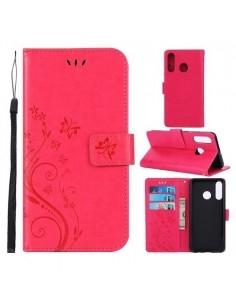 Dombornyomott lepkés virágos notesztok Huawei P30 Lite telefonhoz - PIROS
