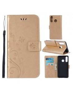 Dombornyomott lepkés virágos notesztok Huawei P30 Lite telefonhoz - ARANY