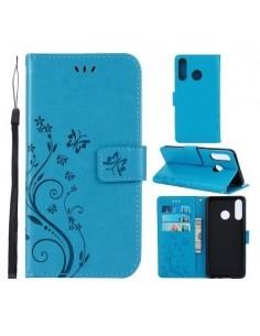 Dombornyomott lepkés virágos notesztok Huawei P30 Lite telefonhoz - KÉK