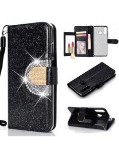 Tükrös csillámos tok Huawei P30 Lite telefonhoz - FEKETE