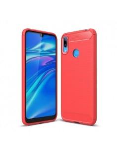 Huawei Y7 (2019) karbon mintás tok - PIROS