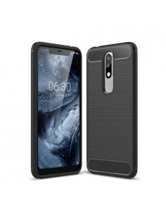 Nokia 5.1 Plus karbon mintás tok - FEKETE