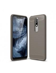 Nokia 5.1 Plus karbon mintás tok - SZÜRKE