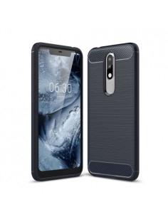 Nokia 5.1 Plus karbon mintás tok - KÉK