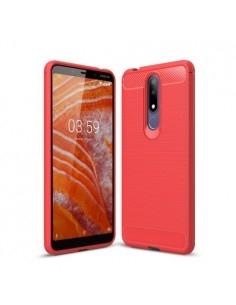Nokia 3.1 Plus karbon mintás tok - PIROS