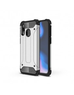 Kemény műanyag és rugalmas TPU hibrid tok Samsung Galaxy A40 telefonhoz - EZÜST