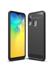 Samsung Galaxy A20e karbon mintás tok - FEKETE