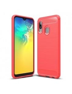 Samsung Galaxy A20e karbon mintás tok - PIROS