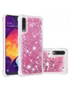 Mozgó csillámos telefontok Samsung Galaxy A50 készülékhez - RÓZSASZÍN
