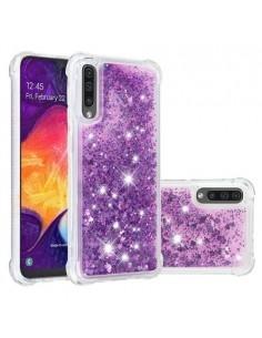 Mozgó csillámos telefontok Samsung Galaxy A50 készülékhez - LILA