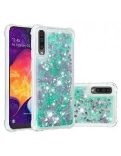 Mozgó csillámos telefontok Samsung Galaxy A50 készülékhez - ZÖLD