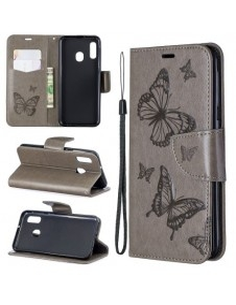 Dombornyomott pillangós telefontok Samsung Galaxy A20e telefonhoz - EZÜST