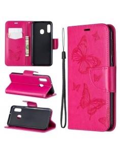 Dombornyomott pillangós telefontok Samsung Galaxy A20e telefonhoz - PINK