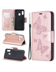 Dombornyomott pillangós telefontok Samsung Galaxy A20e telefonhoz - RÓZSAARANY