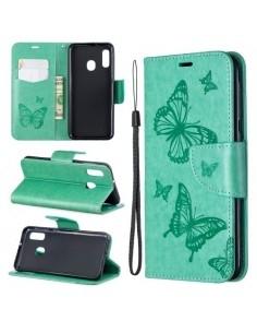 Dombornyomott pillangós telefontok Samsung Galaxy A20e telefonhoz - ZÖLD