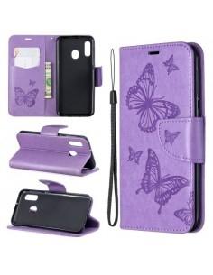 Dombornyomott pillangós telefontok Samsung Galaxy A20e telefonhoz - LILA