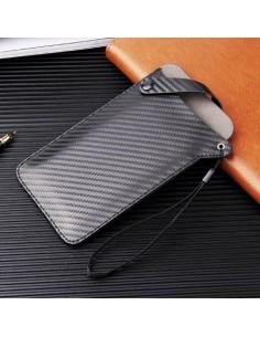 Univerzális zárható telefontok 17.5 x 10 cm - Karbon mintás - FEKETE