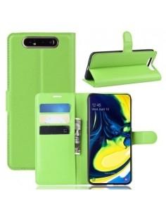 Oldalra nyíló tok Samsung Galaxy A80 / A90 telefonhoz - ZÖLD