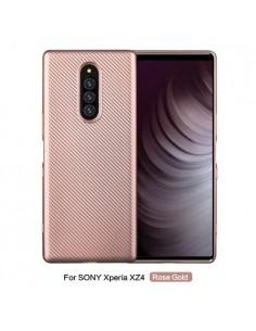 Sony Xperia 1 karbon mintás tok - RÓZSAARANY