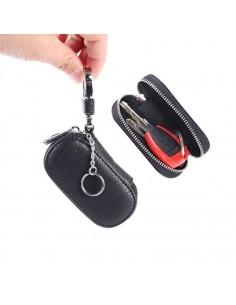 Univerzális bőr övre csatolható cipzáras kulcstartó táska - FEKETE - T12446