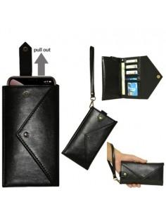 Telefontartó pénztárca karpánttal maximum 4.7-5.2 colos készülékhez - FEKETE