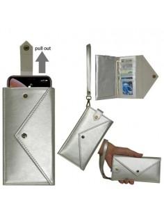 Telefontartó pénztárca karpánttal maximum 4.7-5.2 colos készülékhez - EZÜST