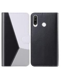 Három színű notesztok Huawei P30 Lite telefonhoz - FEKETE - SZÜRKE - FEHÉR