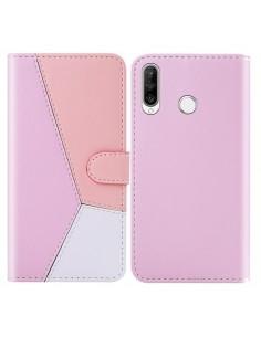 Három színű notesztok Huawei P30 Lite telefonhoz - PINK - RÓZSASZÍN - FEHÉR