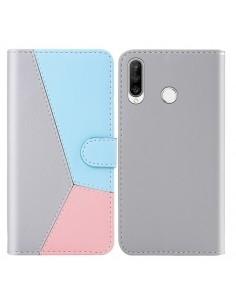 Három színű notesztok Huawei P30 Lite telefonhoz - SZÜRKE - KÉK - RÓZSASZÍN