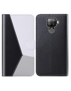 Három színű notesztok Huawei Mate 30 Lite telefonhoz - FEKETE - SZÜRKE - FEHÉR