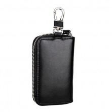 Univerzális bőr övre csatolható cipzáras kulcstartó táska - FEKETE - T12621