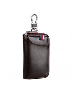 Univerzális bőr övre csatolható cipzáras kulcstartó táska - KÁVÉBARNA - T12622