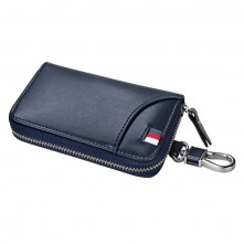 Univerzális bőr övre csatolható cipzáras kulcstartó táska - KÉK - T12623